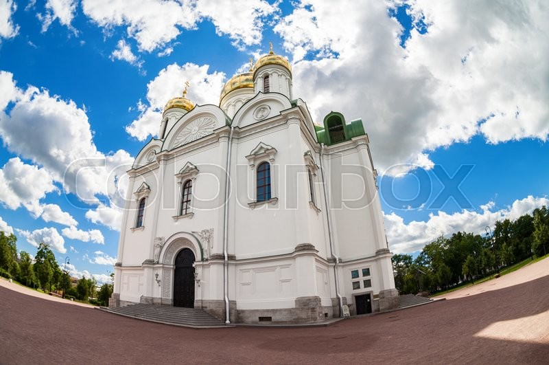Editorial image of 'ST.PETERSBURG, RUSSIA - AUGUST 4, 2015: Fisheye view on Catherine's Cathedral in Pushkin town in summer sunny day'