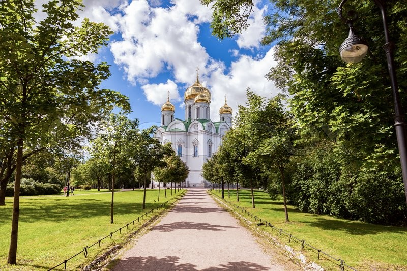 Editorial image of 'ST.PETERSBURG, RUSSIA - AUGUST 4, 2015: Orthodox Catherine's Cathedral in Pushkin town (Tsarskoye Selo) in summer sunny day'
