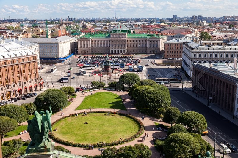 Editorial image of 'ST.PETERSBURG, RUSSIA - AUGUST 5, 2015: Top view on the City from the observation deck of the St. Isaac's cathedral in summer sunny day'