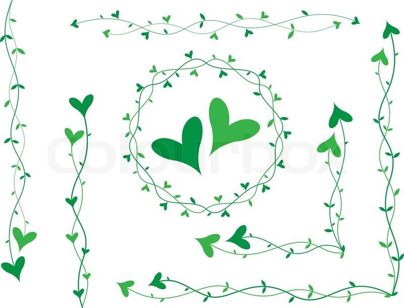 Stock vektor af 'Grønne hjerter på små stilke , kulisser for kort'