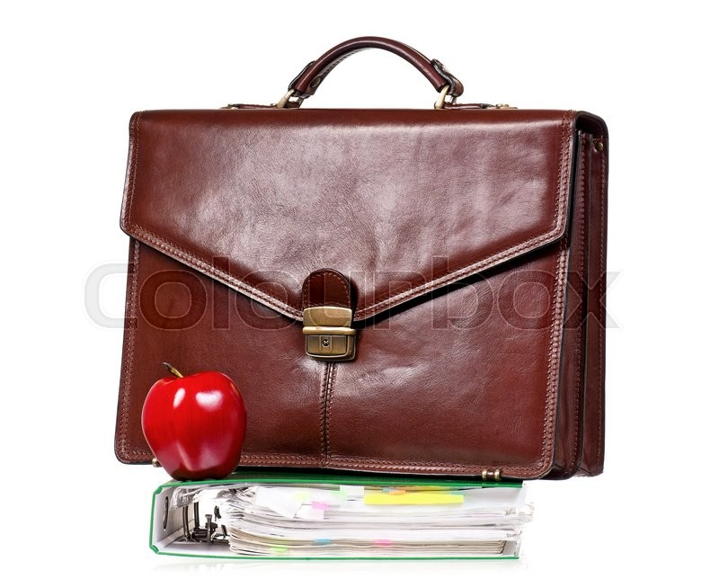 Stock image of 'Brown leather briefcase with file folder, isolated on white background'