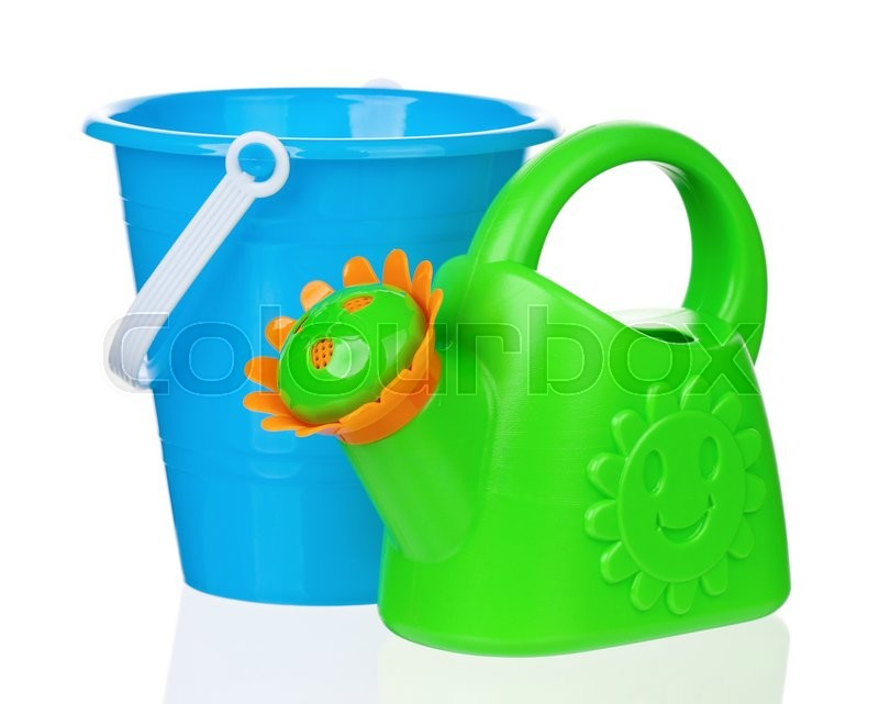Stock image of 'Small bucket and watering can, isolated on white background '