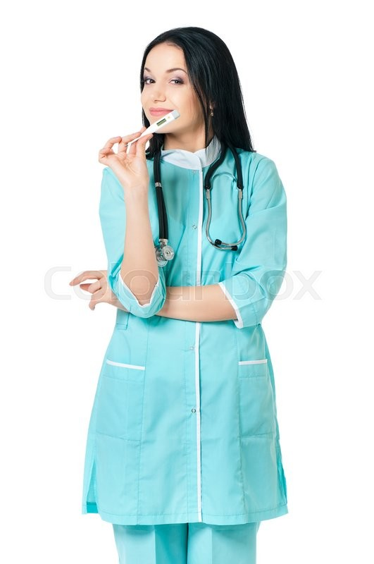 Stock image of 'Beautiful female doctor holding thermometer, isolated on white background '