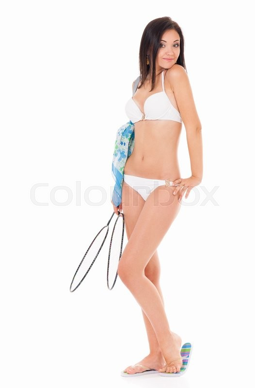 Stock image of 'Young beautiful girl in a white bikini with tennis-racket, isolated on white background'