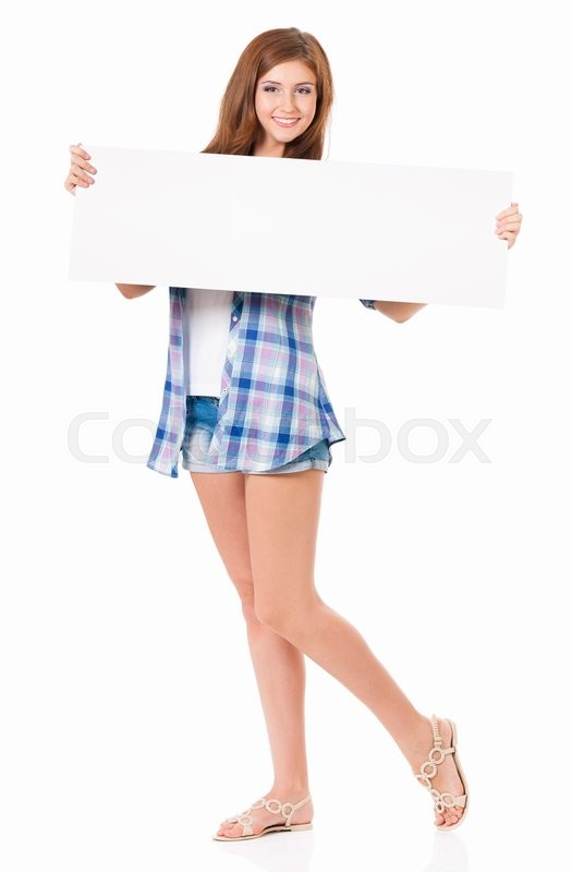 Stock image of 'Girl with blank placard board, isolated on white background '