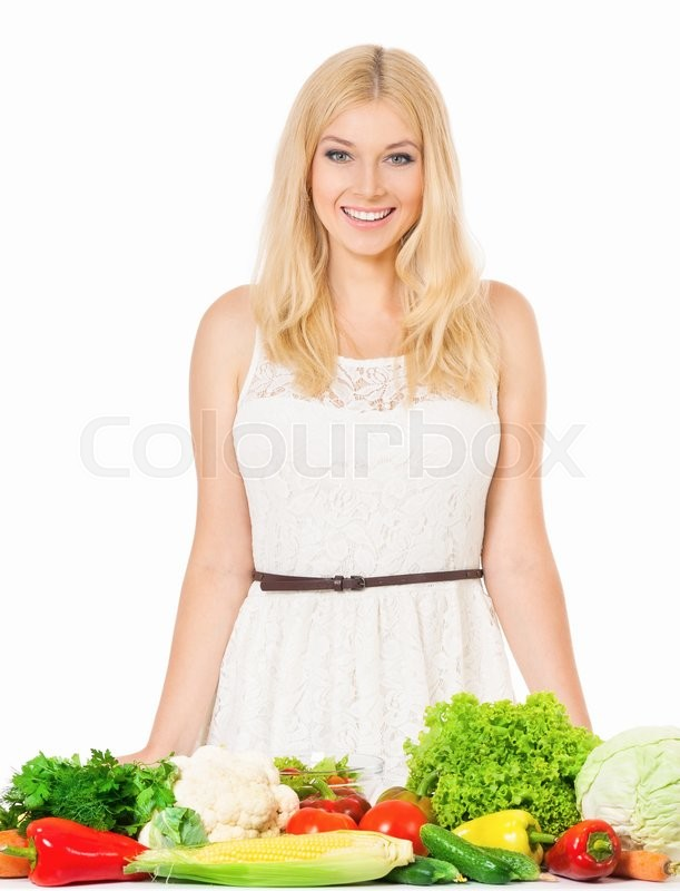 Stock image of 'Happy beautiful woman with fresh vegetables, isolated on white background'