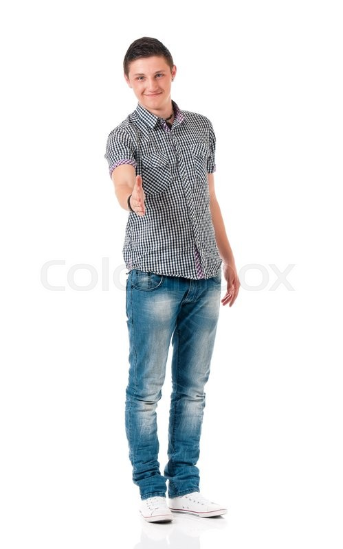 Stock image of 'Young man shaking hands, full length isolated on white background'