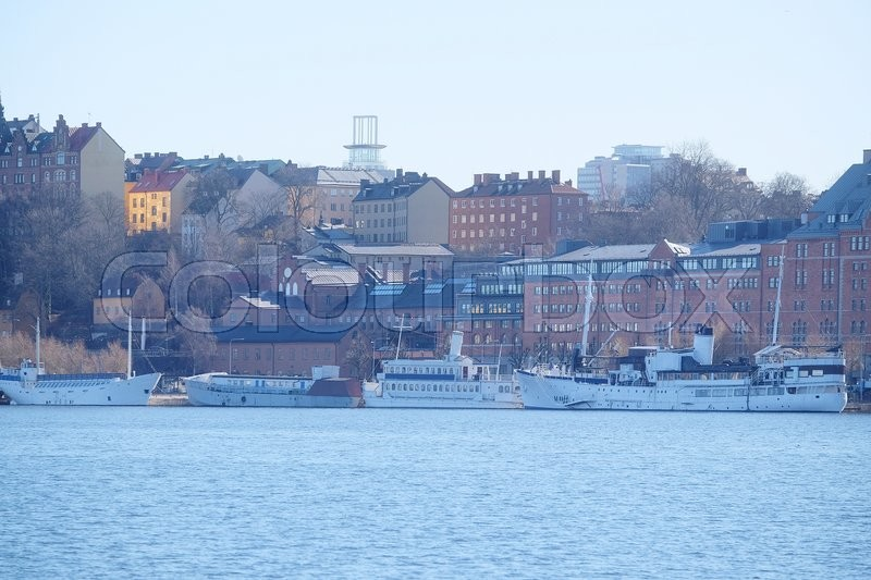 Stock image of 'Stockholm, Sweden - March, 16, 2016: panorama of Old Town of Stockholm, Sweden, with the boats on a sea'