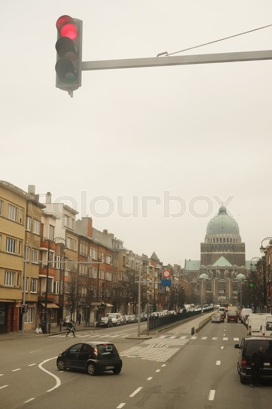 Stock image of 'Brussels, Belgium - February, 9, 2016: street traffic in Brussels, Belgium'