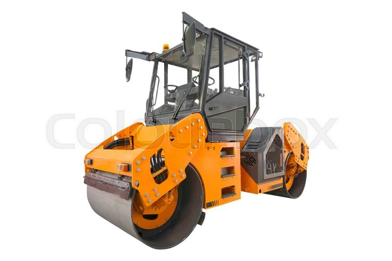 Stock image of 'The image of a road roller under the white background'