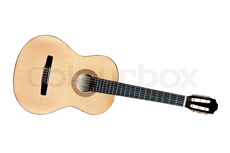 Stock image of 'The image of a guitar under the white background'