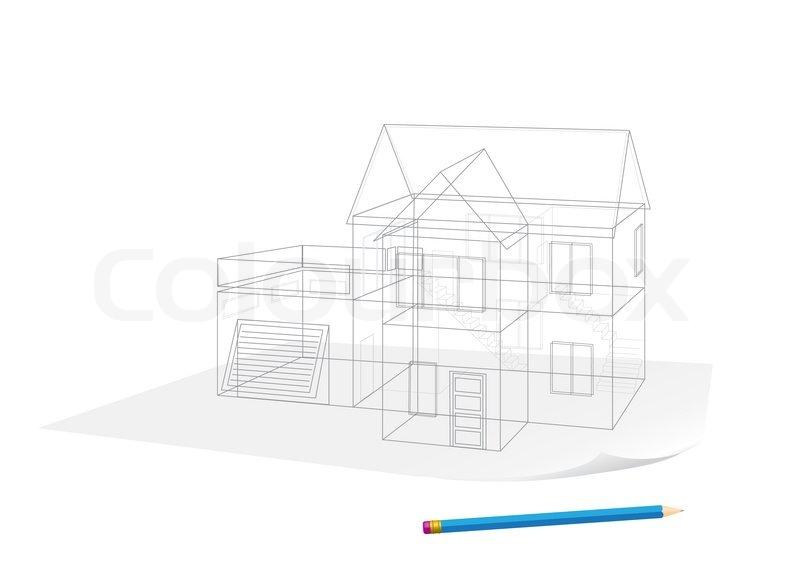 abstract transparent haus skizze zeichnung mit stift auf