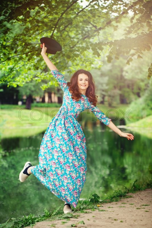 Stock image of 'Happy Woman Outdoors. Healthy Carefree Girl'