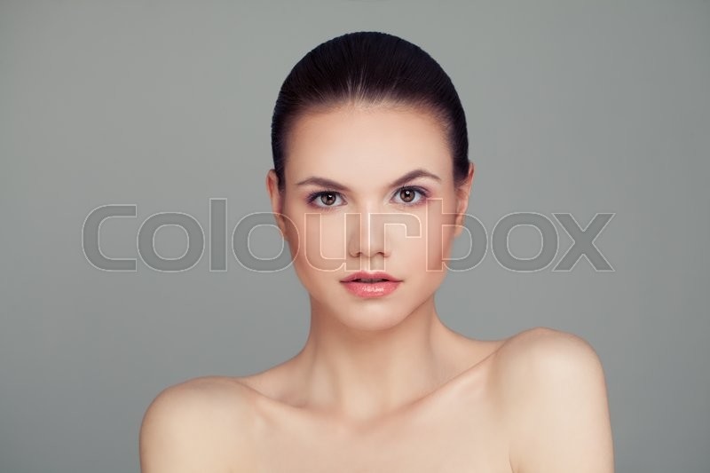 Stock image of 'Spa Face. Healthy Woman with Clear Skin. Skincare Concept'