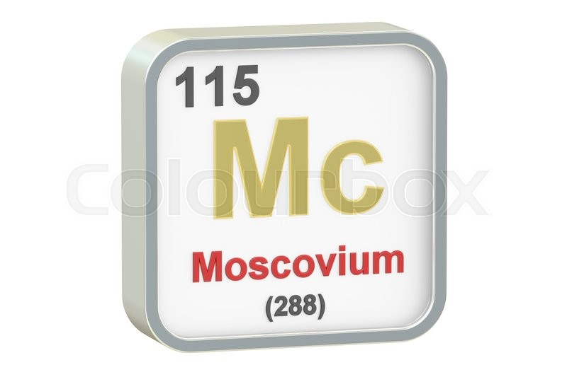 Stock image of 'Moscovium chemical element isolated on white background, 3D rendering'
