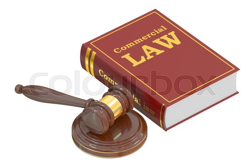 Stock image of 'Wooden Gavel and Commercial Law Book, 3D rendering isolated on white background'