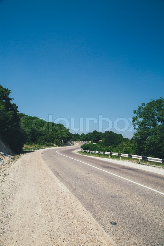 Stock image of 'asphalt road with a marking leaving afar on a summer day'