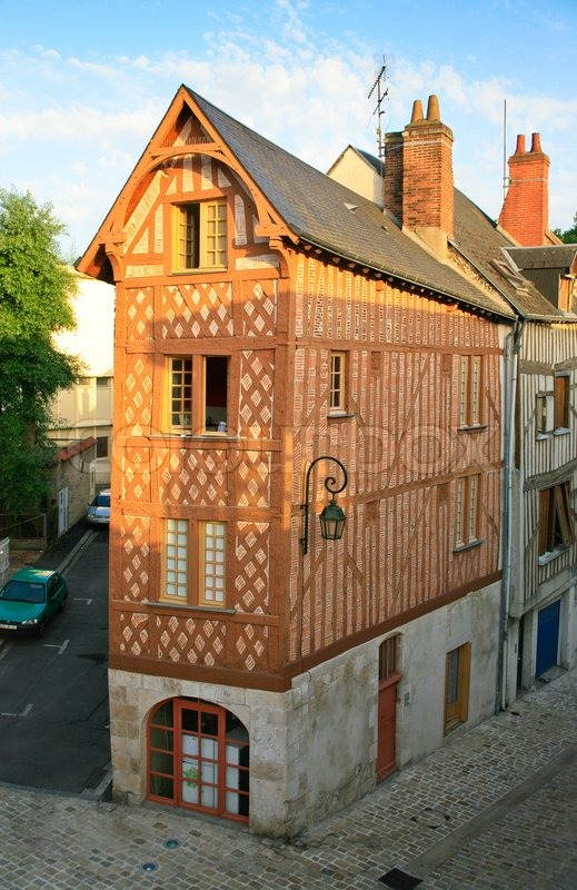 Old Narrow Corner Timber Framing House In Orleans France Stock Photo Colourbox