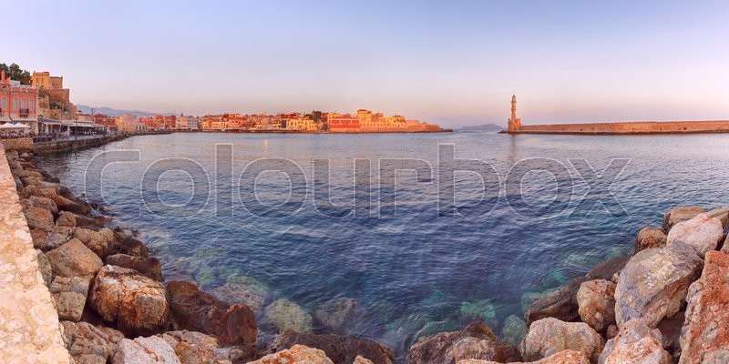 Stock image of 'Picturesque panoramic view of old harbour and marina of Chania with Lighthouse in the morning, Crete, Greece'