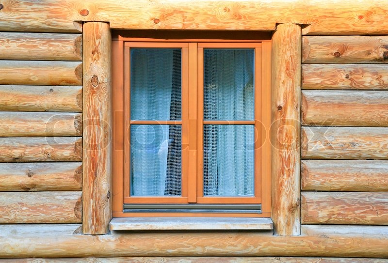 Modern window in old wood house Stock Photo Colourbox