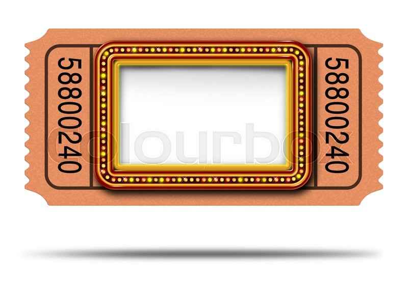 Movie Marqueee Ticket With Blank Copy Space As A Hollywood Theater And Cinema Concept Glowing Group Of Lights On Sign Frame Billboard Icon For