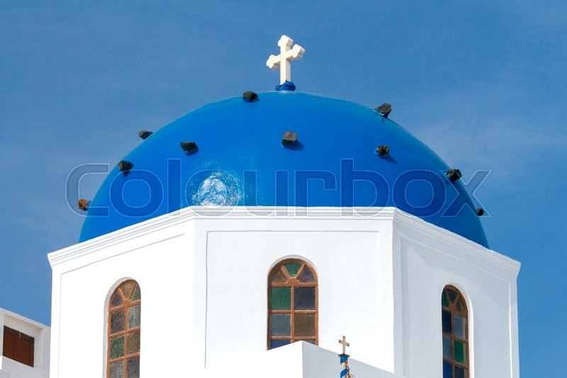 Stock image of 'Traditional Greek Christian church in the town Fira. Greece. Santorini.'