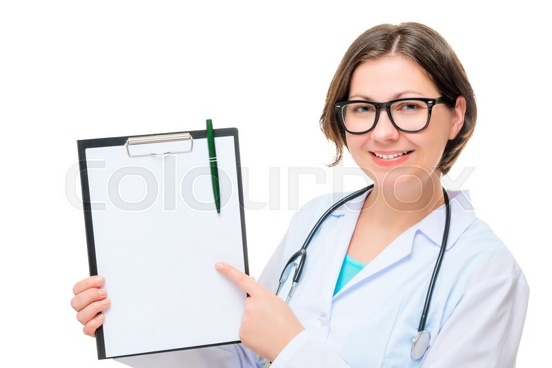 Stock image of 'Portrait of a cute female doctor with a blank in the hands on a white background'