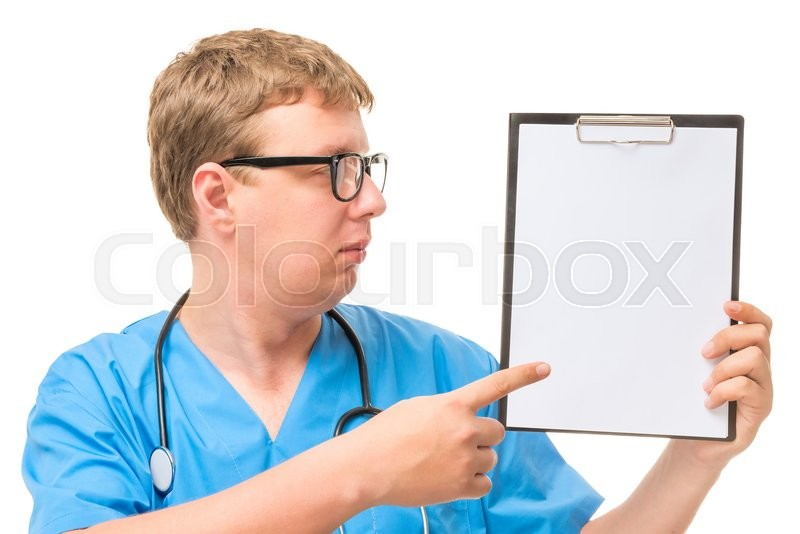 Stock image of 'Doctor pointing at the empty space where you can place your inscription'