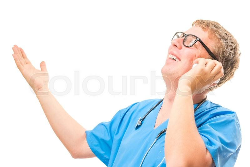 Stock image of 'Emotional Doctor talking on the phone and gesturing with his hands isolated'