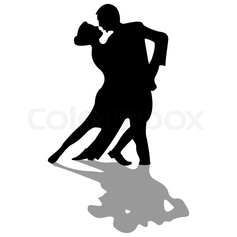 Dancers black silhouettes isolated on white background abstract art illustration stock photo colourbox