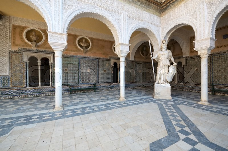 Stock image of 'Courtyard in the palace of Pilatos, Seville, Andalucia, Spain'