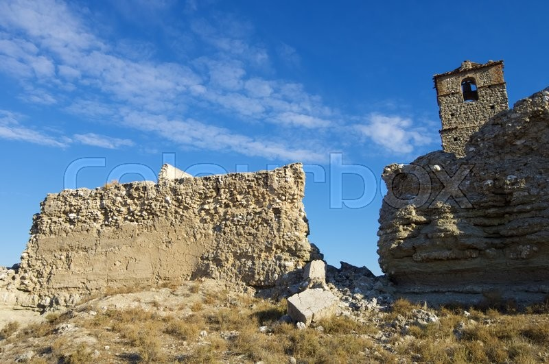 Stock image of 'Roden village destroyed in a bombing during the Spanish Civil War, Saragossa, Aragon, Spain'
