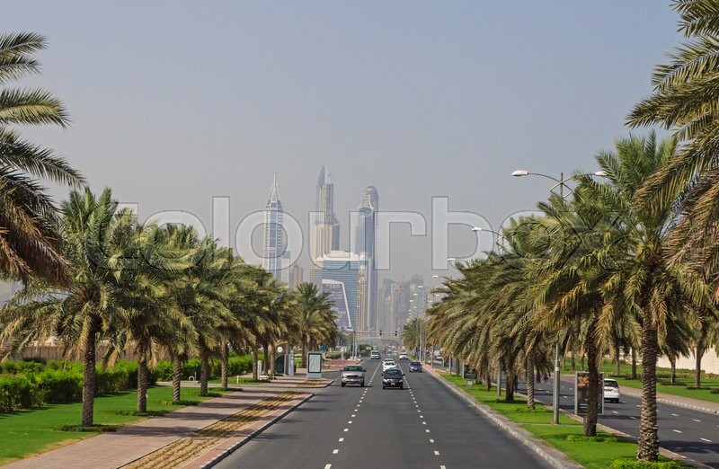 Editorial image of 'Road in Jumeirah district in Dubai'