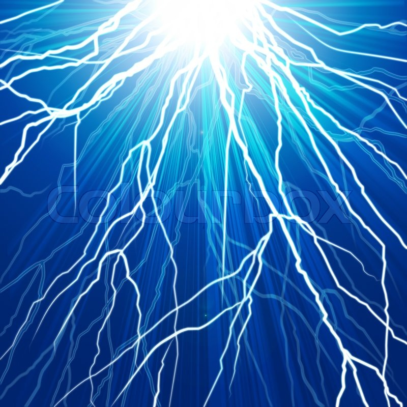 Electric flash of lightning on a dark blue background ...