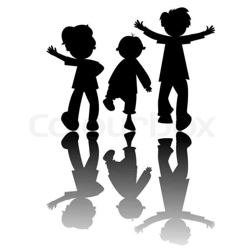 Kinder silhouetten isoliert auf wei em hintergrund - Schattenbilder kinder ...