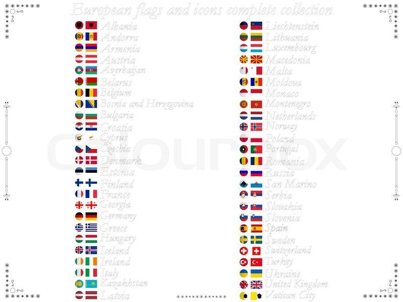Europäischen Flaggen und Symbole komplette Kollektion vor weißem ...