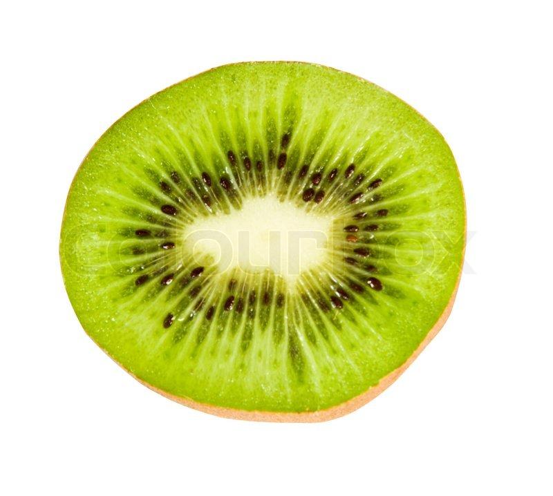 Kiwi fruit cut in half close up - Sliced Open Kiwi On White Background Stock Photo Colourbox