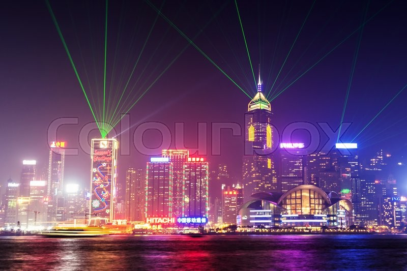 Editorial image of 'HONG KONG - FEBRUARY 21: Victoria Harbor in Hong Kong on February, 21, 2013. The Victoria Harbour is world-famous for its stunning panoramic night view and skyline.'