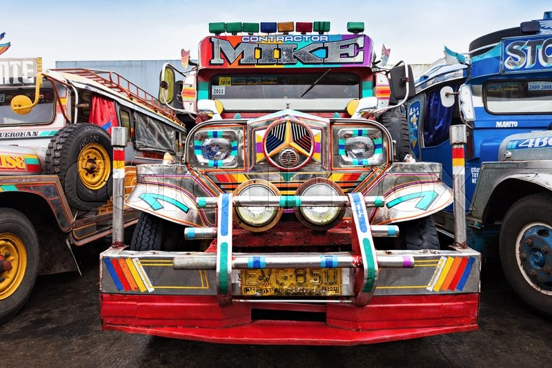 Editorial image of 'MANILA, PHILIPPINES - FEBRUARY 25: Jeepney on the bus station on February, 25, 2013, Manila, Philippines. Jeepney is a most popular public transport on Philippines.'