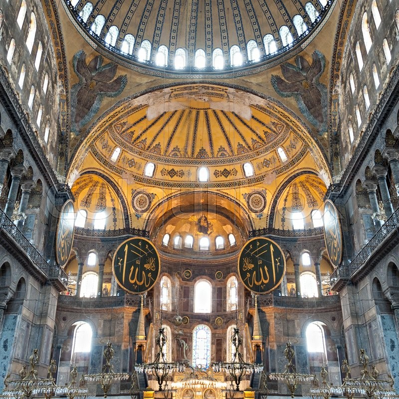 Editorial image of 'ISTANBUL, TURKEY - SEPTEMBER 06, 2014: Hagia Sophia interior on September 06, 2014 in Istanbul, Turkey. Hagia Sophia is the greatest monument of Byzantine Culture.'