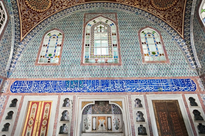 Editorial image of 'ISTANBUL, TURKEY - SEPTEMBER 06, 2014: Beautiful decoration inside Topkapi palace on September 06, 2014 in Istanbul, Turkey.'
