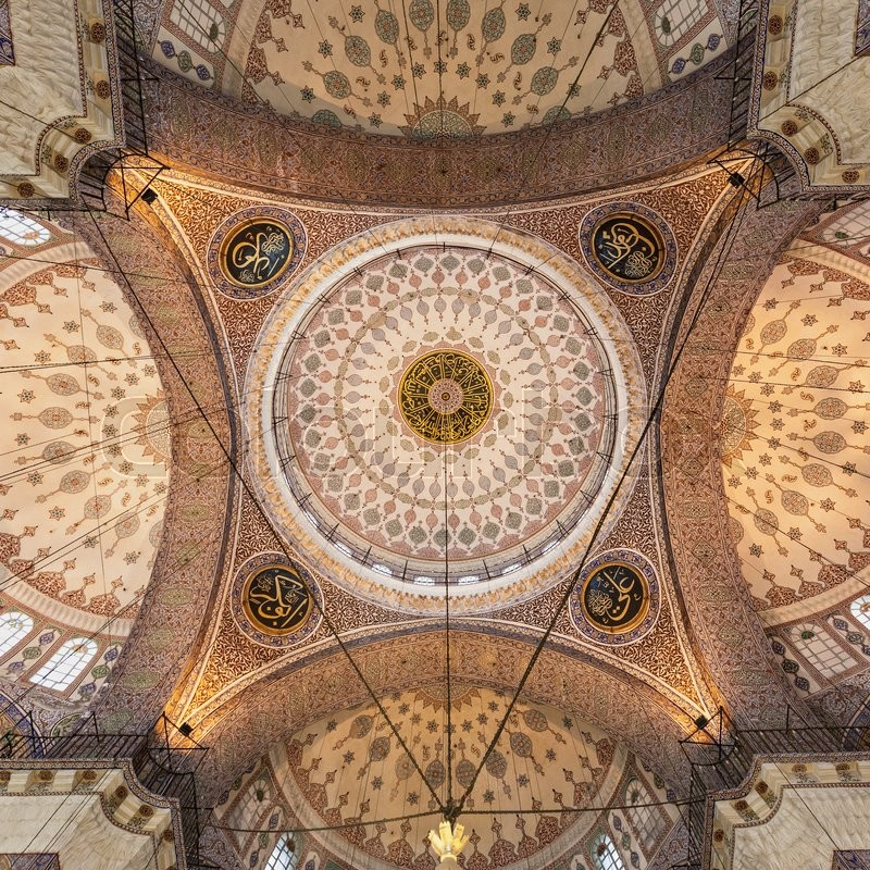 Editorial image of 'ISTANBUL, TURKEY - SEPTEMBER 06, 2014: The New Mosque (Yeni Cami) interior originally named the Valide Sultan Mosque on September 06, 2014 in Istanbul, Turkey.'