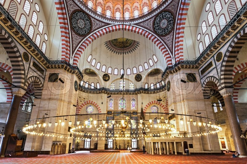 Editorial image of 'ISTANBUL, TURKEY - SEPTEMBER 08, 2014: The Suleymaniye Mosque interior on September 08, 2014 in Istanbul, Turkey. '