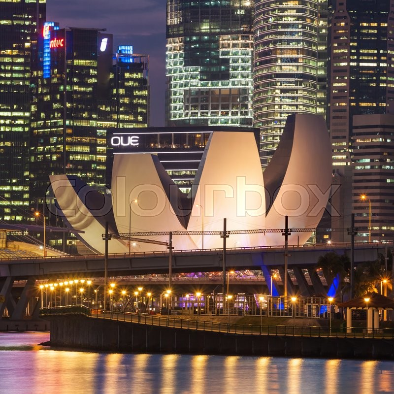 Editorial image of 'SINGAPORE - OCTOBER 16, 2014: ArtScience Museum is one of the attractions at Marina Bay Sands, an integrated resort in Singapore. '