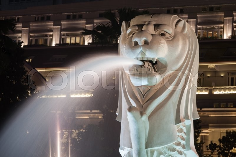 Editorial image of 'SINGAPORE - OCTOBER 16, 2014: The Merlion is a traditional creature in western heraldry that depicts a creature with a lion's head and a body \of a fish.'