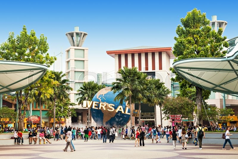 Editorial image of 'SINGAPORE - OCTOBER 17, 2014: Universal Studios Singapore is a theme park located within Resorts World Sentosa on Sentosa Island, Singapore.'