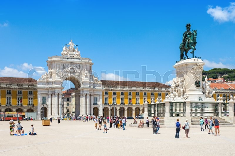 Editorial image of 'LISBON, PORTUGAL - JUNE 24: Commerce Square on June 24, 2014 in Lisbon, Portugal'