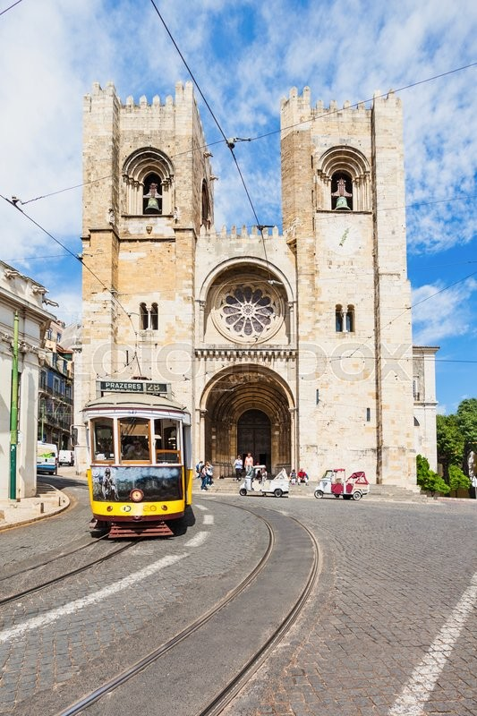 Editorial image of 'LISBON, PORTUGAL - JUNE 24: Se Cathedral (The Patriarchal Cathedral of St. Mary Major)  on June 24, 2014 in Lisbon, Portugal'
