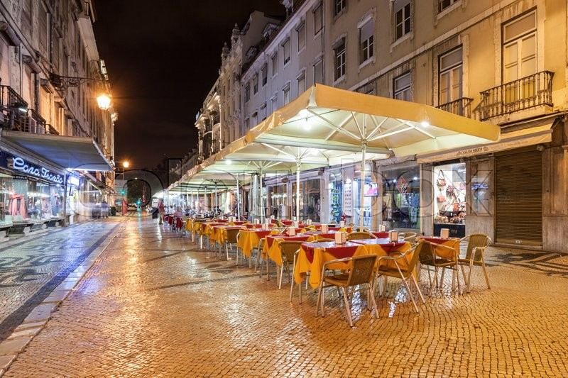 Editorial image of 'LISBON - JUNE 25: Street cafe in the center on June, 25, 2014 in Lisbon, Portugal'