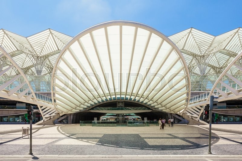 Editorial image of 'LISBON, PORTUGAL - JUNE 26: Modern architecture at the Oriente Station (Gare do Oriente) on June 26, 2014 in Lisbon, Portugal'
